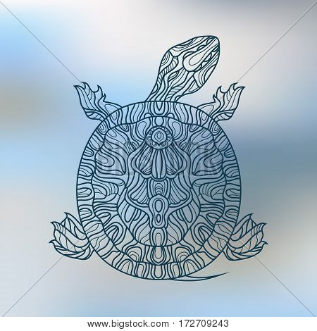 Decorative graphic turtle . Tattoo style, tribal totem animal.