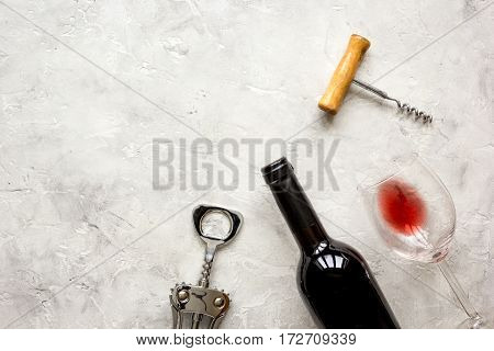 Wine set for restaurant on white stone background top view mock up