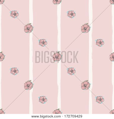 Vector pink seamless pattern. Flowers on striped background. Floral art. Digital or wrapping paper. Textile design
