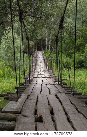 A suspended wooden bridge in green summer forest. Large cracks in the old boards and rusted cables of the suspension bridge. Forest landscape
