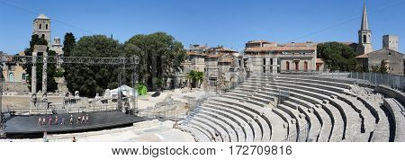 Arles, France - 28 June 2012: The Roman amphitheater of Arles on France