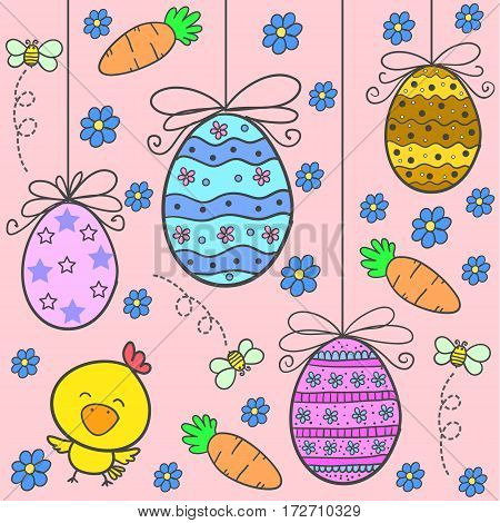 Doodle of easter with egg flower design vector flat