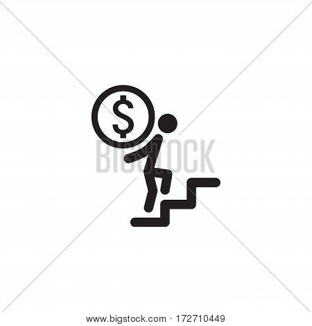 Way to Success Icon. Business Concept. Flat Design. Isolated Illustration.