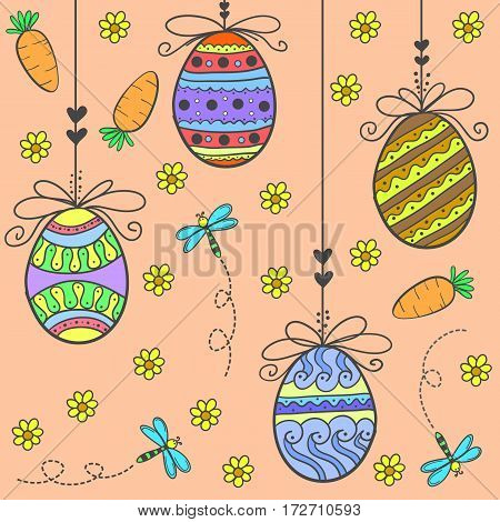 Doodle of easter egg and flower vector flat collection