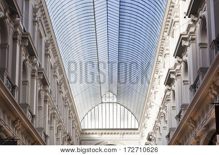 Glass ceiling of the historic passage in the Hague in the Netherlands