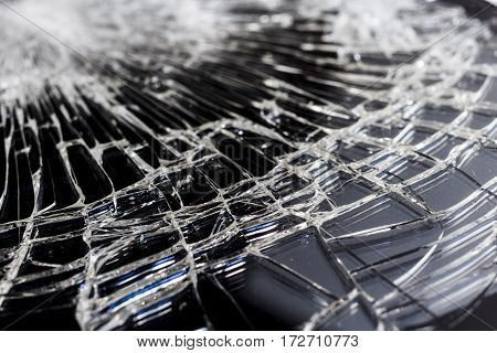 Detailed close up shot of shattered glass