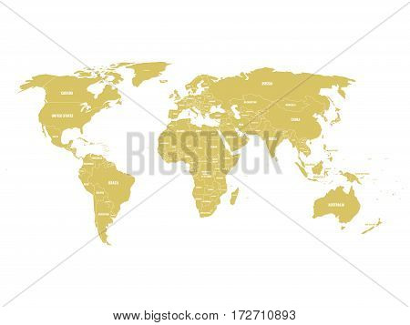 Golden political World map with country borders and white state name labels. Hand drawn simplified vector illustration.