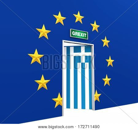 Illustration of Grexit Door . 3D render