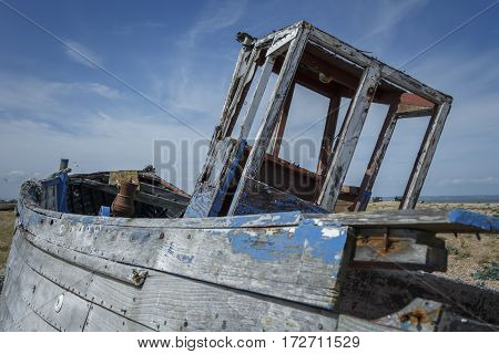 Close up of an old abandoned boat