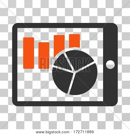 Charts On PDA icon. Vector illustration style is flat iconic bicolor symbol orange and gray colors transparent background. Designed for web and software interfaces.
