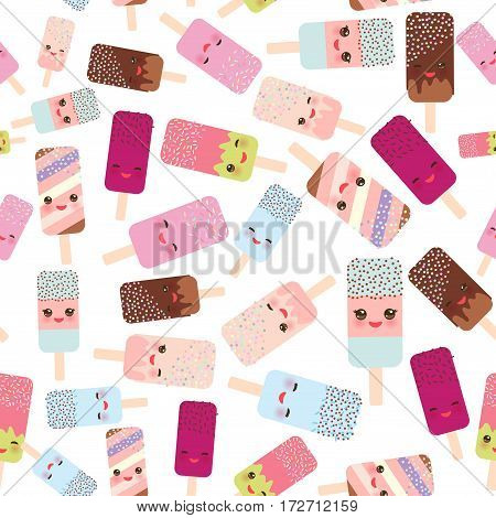 seamless pattern ice cream ice lolly Kawaii with pink cheeks and winking eyes pastel colors on white background. Vector illustration