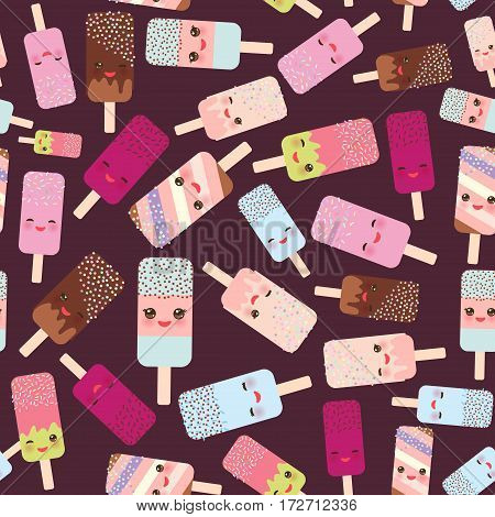 seamless pattern ice cream ice lolly Kawaii with pink cheeks and winking eyes pastel colors on dark brown background. Vector illustration