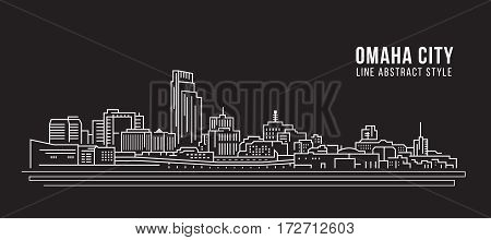 Cityscape Building Line art Vector Illustration design - Omaha city