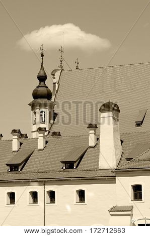Vilnius old town architecture, Summer time, Sepia toned photo