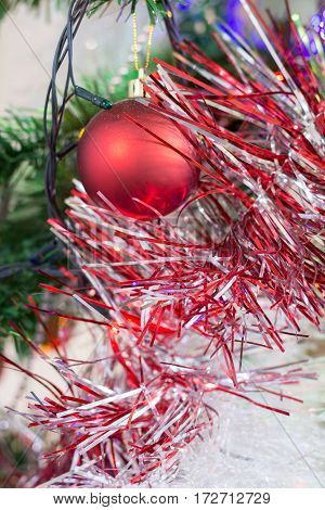 Red Decoration Ball On The Christmas Tree