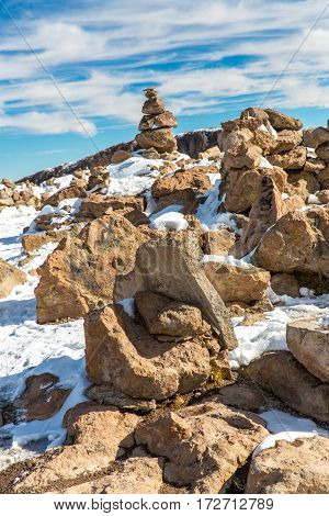 The Andes Road Cusco- Puno PeruSouth America. 4910 m above. The longest continental mountain range in the world many active volcanoes. Sacred Valley of the Incas. Spectacular nature of snow mountains and blue sky