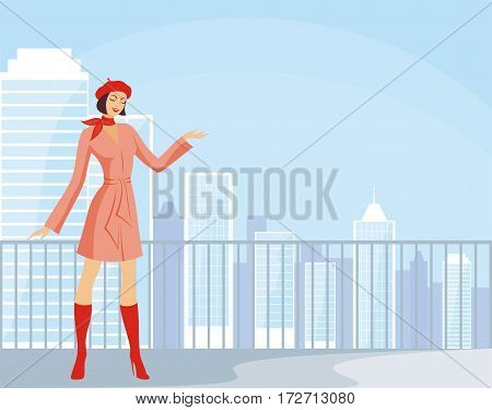 The image of the beautiful young woman against the background of a city landscape.