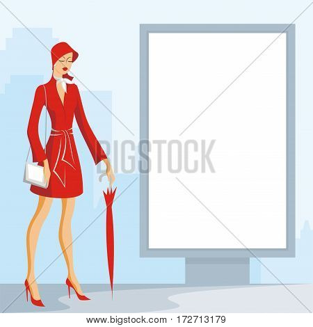 Image of the beautiful young woman and street city billboard. Vector background.