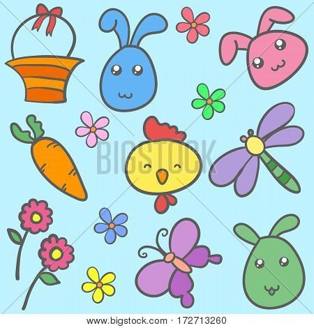 Collection of easter syle doodles vector art