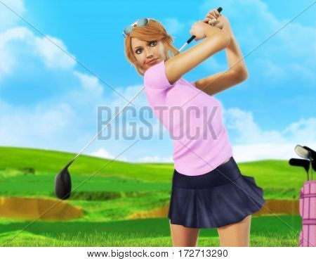 3D painting of a girl golf player teeing-off with on a beautiful day front view.