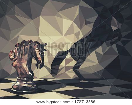Low poly 3d design of knight chess piece casting a shadow of a wild horse on the wall. Vector triangulation symbol of business aspirations and leadership concept. Magic transformation.