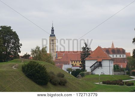 Watchtower of Stari Grad and the tower of Cathedral of the Franciscan Church of st. John the Baptist, Varazdin, Croatia