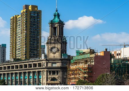 steeple-crowned buildings in Shanghai,city of China .