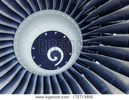 Close Up abstract shot of a jet engine turbine