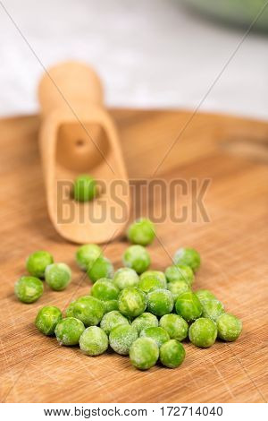 Green Peas On The Wooden Board. Flat Lay With Copy Space Green P