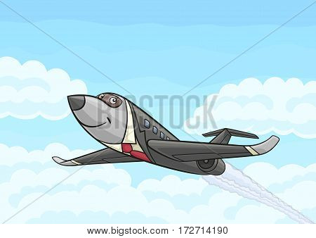 Cartoon airplane business class flying in the sky.