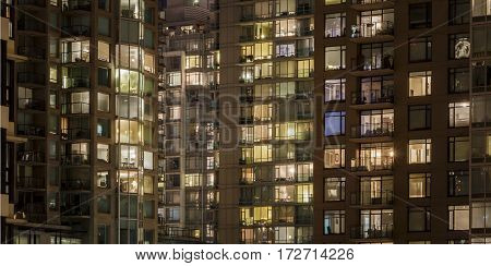 Abstract shot of lights in multiple apartment buildings