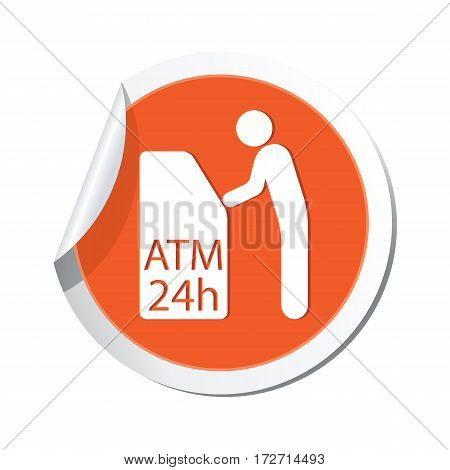 Sticker with ATM cash point icon. Vector illustration