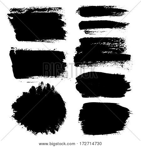 Grunge paint vector. Painted brush stroke stripes. Rectangle text box set. Distress texture backgrounds. Hand drawn banners, labels. Black textured design elements. Grungy scratch effect paintbrush