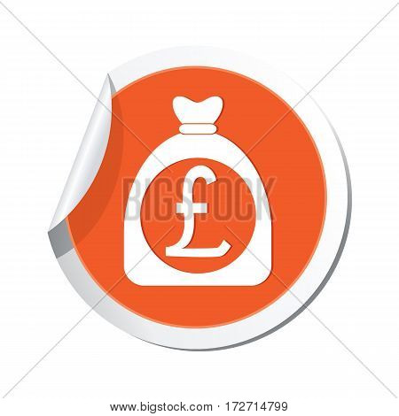 Money bag with pound sign on the sticker. Vector illustration