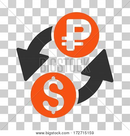 Dollar Rouble Exchange icon. Vector illustration style is flat iconic bicolor symbol orange and gray colors transparent background. Designed for web and software interfaces.