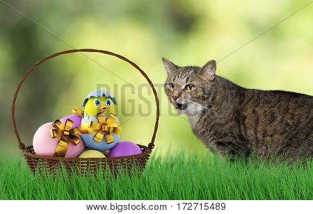cute happy playing Cat with easter eggs