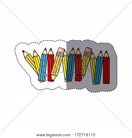 sticker silhouette with colored pencils row with half shadow vector illustration