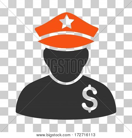 Financial Policeman icon. Vector illustration style is flat iconic bicolor symbol orange and gray colors transparent background. Designed for web and software interfaces.