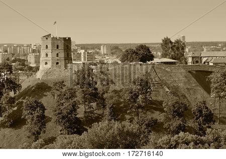 Vilnius, Tower of Gediminas, symbol of Vilnius Summer, sepia toned photo