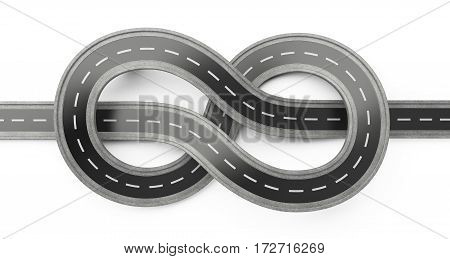 Asphalt road top wiev tied in a knot over white background. 3d illustration.