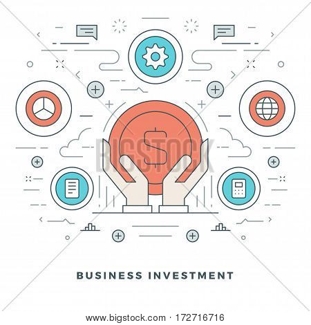 Flat line Business Concept Vector illustration. Modern thin linear stroke vector icons. Website Header Graphics, Banner, Infographics Design, Promotional Materials. Vector Icons.