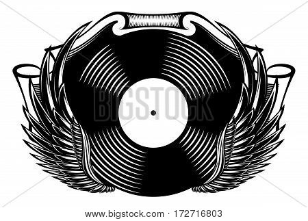 monochrome musical banner with vinyl and wings