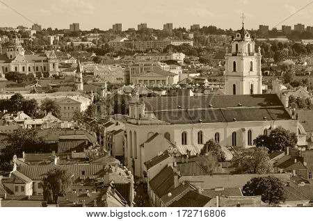 Vilnius old town panorama, Summer time, Sepia toned photo