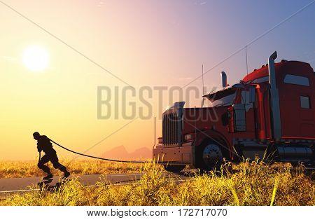 Man pulls a truck.,3d render