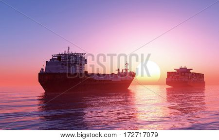 Group cargo ships at sea.,3d render