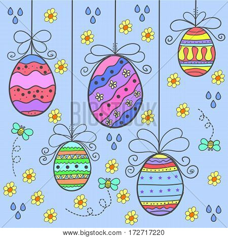 Vector art of easter egg style doodles collection