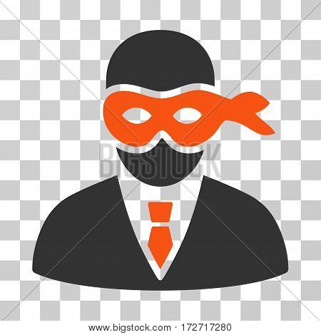 Masked Thief icon. Vector illustration style is flat iconic bicolor symbol orange and gray colors transparent background. Designed for web and software interfaces.
