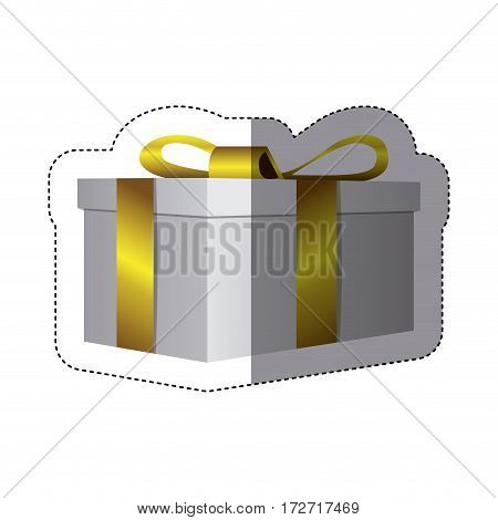color sticker silhouette with rectangular gift box vector illustration