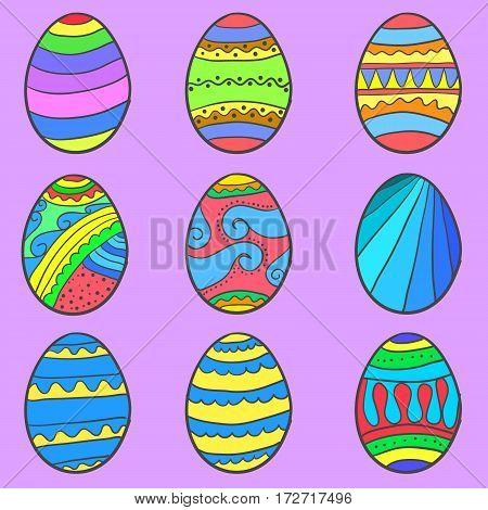 Set of easter egg style vector art