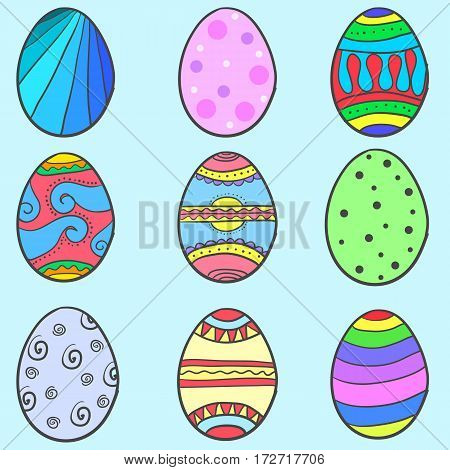 Collection of easter egg set style vector art